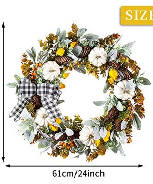 WANNA CUL 24 Inch Farmhouse Fall Wreath For Front Door With White PumpkinCottonLambs Ear And Eucalyptus LeavesHarvest Door Wreath For Fall And Thanksgiving Decorations 0 2 300x360