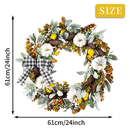 WANNA CUL 24 Inch Farmhouse Fall Wreath For Front Door With White PumpkinCottonLambs Ear And Eucalyptus LeavesHarvest Door Wreath For Fall And Thanksgiving Decorations 0 2