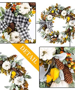 WANNA CUL 24 Inch Farmhouse Fall Wreath For Front Door With White PumpkinCottonLambs Ear And Eucalyptus LeavesHarvest Door Wreath For Fall And Thanksgiving Decorations 0 3 300x360