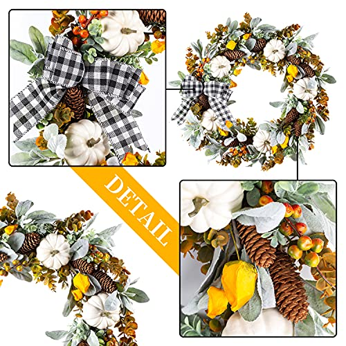 WANNA CUL 24 Inch Farmhouse Fall Wreath For Front Door With White PumpkinCottonLambs Ear And Eucalyptus LeavesHarvest Door Wreath For Fall And Thanksgiving Decorations 0 3