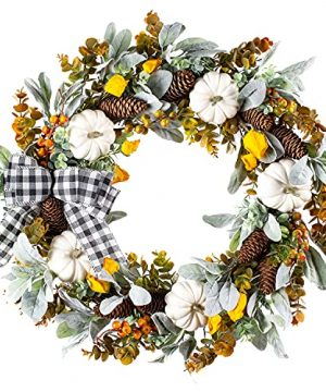 WANNA CUL 24 Inch Farmhouse Fall Wreath For Front Door With White PumpkinCottonLambs Ear And Eucalyptus LeavesHarvest Door Wreath For Fall And Thanksgiving Decorations 0 300x360