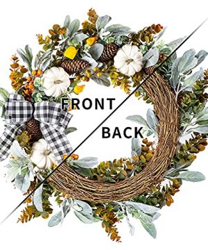 WANNA CUL 24 Inch Farmhouse Fall Wreath For Front Door With White PumpkinCottonLambs Ear And Eucalyptus LeavesHarvest Door Wreath For Fall And Thanksgiving Decorations 0 4 300x360