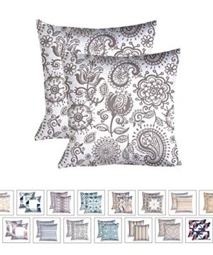 WHITEWRAP Cotton Decorative Printed Square Pillow Cover 16 Inch X 16 Inch Pack Of 2 Frost Grey Throw Pillow Cover Cushion Cover Pillowcase Linen Home Decor For Sofa Couch Patio Car Bed Chair 0 300x360
