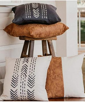 WILDIVORY Decorative Throw Pillow Covers For Couch Boho Pillow Covers 18x18 Set Of 4 Modern Farmhouse Pillow Covers For Living Room Bed Boho Decor Boho Throw Pillows Faux Leather Pillow Covers 0 300x360