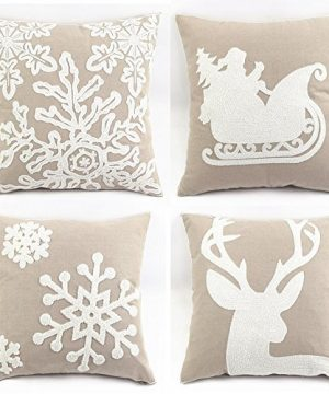 WOMHOPE Pack Of 4 Christmas Pillow Covers Embroidery Sleigh Snowflakes Winter Decorative Square Cushion Covers Shells 18 X 18 Inches For BedSofaCouch B Set Of 4 Griege 0 300x360