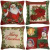 WOMHOPE Pack Of 4 Vintage Christmas Throw Pillow Covers Cases Two Sided Jacquard Woven Farmhouse Decorative Pillowcase Square For Sofa Couch Bed Chair 18 X 18 Inch Poinsettia 0 100x100
