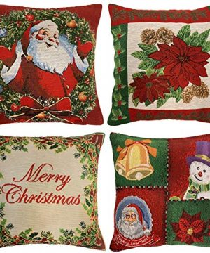 WOMHOPE Pack Of 4 Vintage Christmas Throw Pillow Covers Cases Two Sided Jacquard Woven Farmhouse Decorative Pillowcase Square For Sofa Couch Bed Chair 18 X 18 Inch Poinsettia 0 300x360