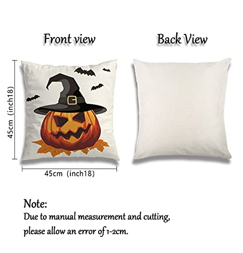Wareon Halloween Decorations Throw Pillow Covers 18x18 Inches Set Of 4 Halloween Decor Clearance Trick Or Treat Farmhouse Pumpkin Bat Cushion Cover For Sofa Couch Living Indoor Room Bedroom Outdoor 0 0