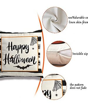 Wareon Halloween Decorations Throw Pillow Covers 18x18 Inches Set Of 4 Halloween Decor Clearance Trick Or Treat Farmhouse Pumpkin Bat Cushion Cover For Sofa Couch Living Indoor Room Bedroom Outdoor 0 1 300x360