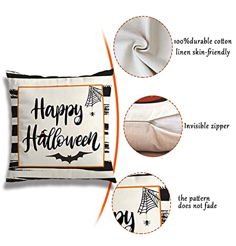 Wareon Halloween Decorations Throw Pillow Covers 18x18 Inches Set Of 4 Halloween Decor Clearance Trick Or Treat Farmhouse Pumpkin Bat Cushion Cover For Sofa Couch Living Indoor Room Bedroom Outdoor 0 1