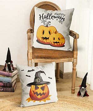 Wareon Halloween Decorations Throw Pillow Covers 18x18 Inches Set Of 4 Halloween Decor Clearance Trick Or Treat Farmhouse Pumpkin Bat Cushion Cover For Sofa Couch Living Indoor Room Bedroom Outdoor 0 2 300x360