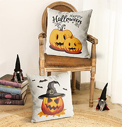 Wareon Halloween Decorations Throw Pillow Covers 18x18 Inches Set Of 4 Halloween Decor Clearance Trick Or Treat Farmhouse Pumpkin Bat Cushion Cover For Sofa Couch Living Indoor Room Bedroom Outdoor 0 2