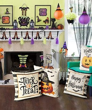 Wareon Halloween Decorations Throw Pillow Covers 18x18 Inches Set Of 4 Halloween Decor Clearance Trick Or Treat Farmhouse Pumpkin Bat Cushion Cover For Sofa Couch Living Indoor Room Bedroom Outdoor 0 3 300x360