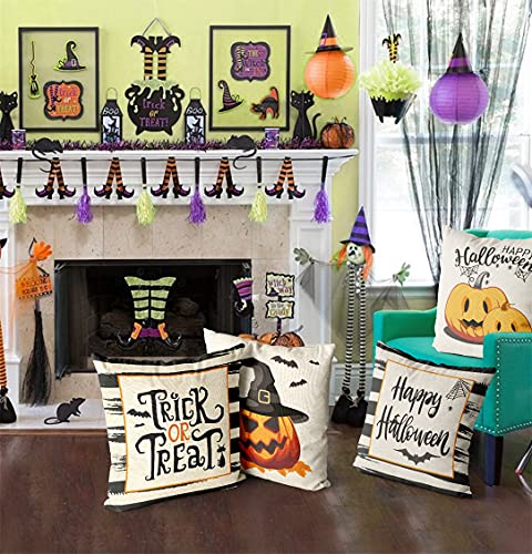Wareon Halloween Decorations Throw Pillow Covers 18x18 Inches Set Of 4 Halloween Decor Clearance Trick Or Treat Farmhouse Pumpkin Bat Cushion Cover For Sofa Couch Living Indoor Room Bedroom Outdoor 0 3