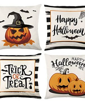 Wareon Halloween Decorations Throw Pillow Covers 18x18 Inches Set Of 4 Halloween Decor Clearance Trick Or Treat Farmhouse Pumpkin Bat Cushion Cover For Sofa Couch Living Indoor Room Bedroom Outdoor 0 300x360