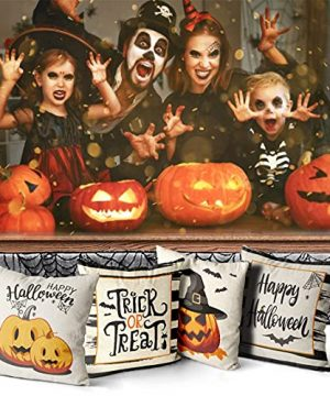 Wareon Halloween Decorations Throw Pillow Covers 18x18 Inches Set Of 4 Halloween Decor Clearance Trick Or Treat Farmhouse Pumpkin Bat Cushion Cover For Sofa Couch Living Indoor Room Bedroom Outdoor 0 4 300x360