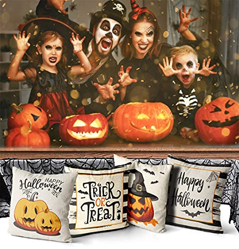 Wareon Halloween Decorations Throw Pillow Covers 18x18 Inches Set Of 4 Halloween Decor Clearance Trick Or Treat Farmhouse Pumpkin Bat Cushion Cover For Sofa Couch Living Indoor Room Bedroom Outdoor 0 4