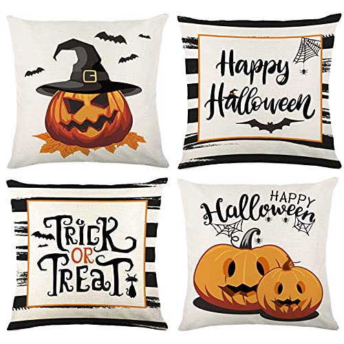 Wareon Halloween Decorations Throw Pillow Covers 18x18 Inches Set Of 4 Halloween Decor Clearance Trick Or Treat Farmhouse Pumpkin Bat Cushion Cover For Sofa Couch Living Indoor Room Bedroom Outdoor 0