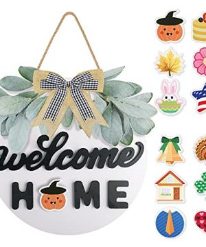Welcome Sign For Front Door Farmhouse Decor Interchangeable Welcome Sign For Front Door Housewarming Gift Hanging Round Wood Sign With 12 Seasonal Ornaments For Halloween Door Decorations White 0 300x360