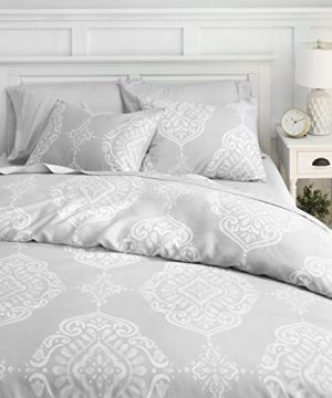 Welhome Penfold Cotton Tencel Lyocell 3 Piece Duvet Cover Set FullQueen Size Storm Cloud 88 X 92 Luxurious Soft Smooth Breathable Machine Washable 0 300x360