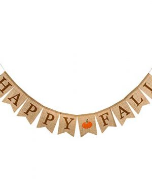 Whaline Happy Fall Pumpkin Burlap Banner Harvest Home Decor Bunting Flag Garland Party Thanksgiving Day Decoration 0 300x360