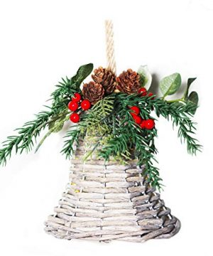 Wicker Hanging Bell Ornament Hand Made For Farmhouse Christmas Decor 6 In 0 300x360