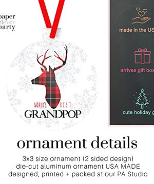 Worlds Best Grandpop Ornament Rustic Deer Christmas Tree Decorations Red And Black Grandfather Gift Ideas Xmas Present From Grandchild 3x3 Size Double Sided Design 0 0 300x360