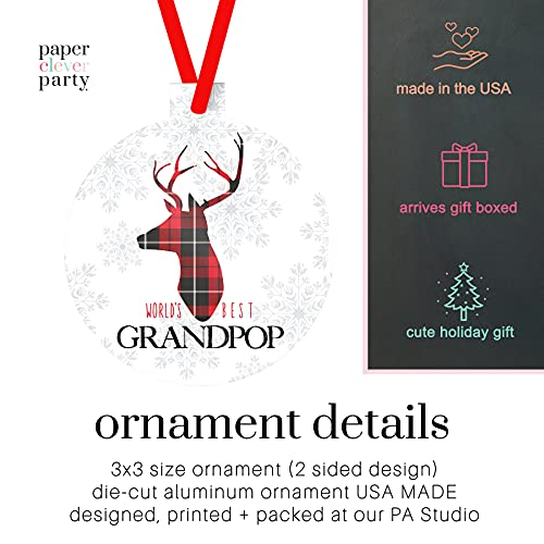 Worlds Best Grandpop Ornament Rustic Deer Christmas Tree Decorations Red And Black Grandfather Gift Ideas Xmas Present From Grandchild 3x3 Size Double Sided Design 0 0