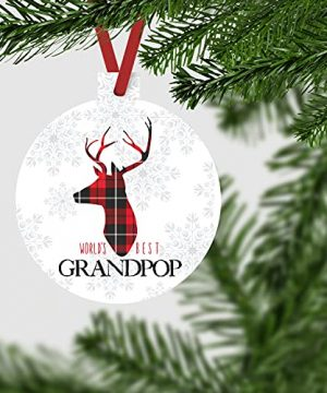 Worlds Best Grandpop Ornament Rustic Deer Christmas Tree Decorations Red And Black Grandfather Gift Ideas Xmas Present From Grandchild 3x3 Size Double Sided Design 0 1 300x360