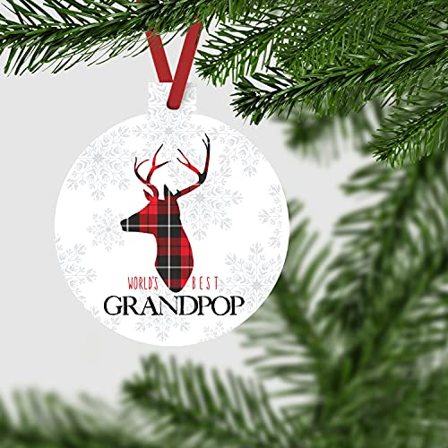 Worlds Best Grandpop Ornament Rustic Deer Christmas Tree Decorations Red And Black Grandfather Gift Ideas Xmas Present From Grandchild 3x3 Size Double Sided Design 0 1