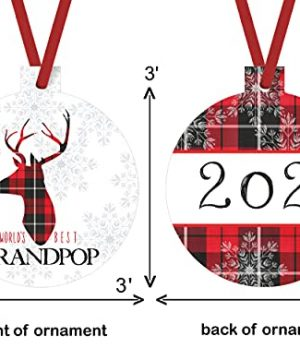 Worlds Best Grandpop Ornament Rustic Deer Christmas Tree Decorations Red And Black Grandfather Gift Ideas Xmas Present From Grandchild 3x3 Size Double Sided Design 0 2 300x360