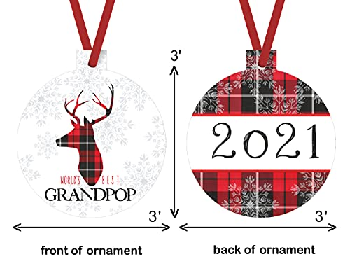 Worlds Best Grandpop Ornament Rustic Deer Christmas Tree Decorations Red And Black Grandfather Gift Ideas Xmas Present From Grandchild 3x3 Size Double Sided Design 0 2