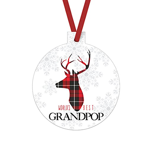 Worlds Best Grandpop Ornament Rustic Deer Christmas Tree Decorations Red And Black Grandfather Gift Ideas Xmas Present From Grandchild 3x3 Size Double Sided Design 0