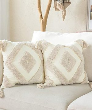 Woven Tufted Boho Throw Pillow Cover Set Of 2 Modern Decorative Geometric Diamond Chevron Cushion With Tassels Farmhouse Tribal Pillowcase For Couch Sofa Bedroom Living Room 18 X 18 Inches Ivory 0 300x360