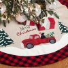 XAMSHOR 48 Inches Burlap Christmas Tree Skirt With Red And Black Plaid Border Embroidered Tree Skirt Decor For Xmas Decorations 0 100x100