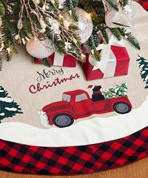 XAMSHOR 48 Inches Burlap Christmas Tree Skirt With Red And Black Plaid Border Embroidered Tree Skirt Decor For Xmas Decorations 0 300x360