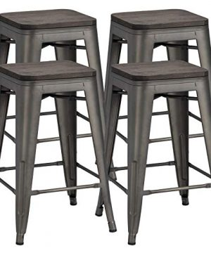 YAHEETECH 24inch Metal Bar Stools Counter Height Barstools High Backless Industrial Stackable Metal Chairs With Wood SeatTop IndoorOutdoor Set Of 4 Gun Metal 0 300x360
