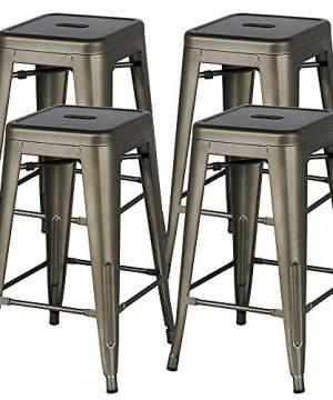 YAHEETECH 24inch Metal Bar Stools Counter Height Barstools Set Of 4 High Backless Industrial Stackable Metal Chairs IndoorOutdoor Gun Metal 0 300x360