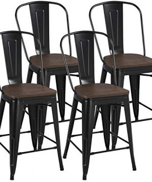 YAHEETECH 24inch Metal Dining Chairs Solid Fir Wooden Surface Furniture High Black Metal Indoor Outdoor Counter Height Stool With Removable Back Modern Kitchen Dining Bar Chairs Rustic Black 0 300x360