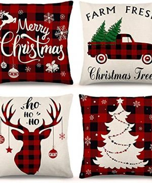YGEOMER Christmas Pillow Covers 1818 Inch Set Of 4 Farmhouse Black And Red Buffalo Plaid Pillow Covers Holiday Rustic Linen Pillow Case For Sofa Couch Christmas Decorations Throw Pillow Covers 0 300x360