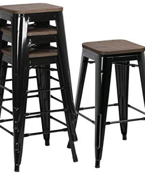 Yaheetech 26Inch Seat Height Metal Bar Stools Dining Stools Chairs With Wood SeatTop IndoorOutdoor Stackable Barstools Set Of 4 Black 0 300x360