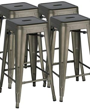 Yaheetech 30 Inches Metal Bar Stools High Backless Bar Height Stools Stackable ChairsSet Of 4Metal 0 300x360