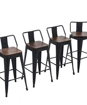Yongchuang 26 Swivel Bar Stools With Backs Set Of 4 Counter Height Stools Industrial Metal Barstools Swivel 26 Wood Top Black 0 300x360