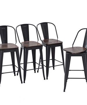 Yongqiang 26 Swivel Bar Stools Set Of 4 High Back Metal Counter Height Stools With Wooden Seat Industrial Bar Chairs Matte Black 0 300x360