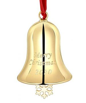 Yuokwer Christmas Bell Hanging Ornaments For Christmas Tree Gold Bell Ornament With Red Hanging Ribbon Engraved Merry Christmas 2020 Annual Edition Gold 1 0 300x360