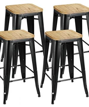 ZENSTYLE 26 4 Set Stackable Barstools Counter Height Metal Bar Stools Kitchen Island Chairs With Square Wood Top For Indoor Outdoor 0 300x360