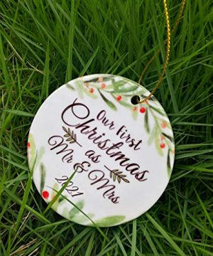 ZUNON First Christmas Ornaments 2021 Our First Christmas As Mr Mrs Couple Married Wedding Decoration 3 Ornament Green Mr Mrs 0 300x360