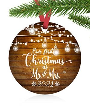 ZUNON First Christmas Ornaments 2021 Our First Christmas As Mr Mrs Couple Married Wedding Decoration 3 Ornament Lights Mr Mrs 0 300x360