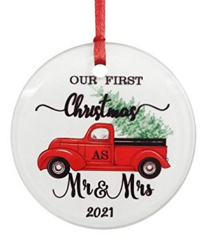 ZUNON Glass Ornament Our First Christmas Ornaments As Mr Mrs 2021 Couple Gift Red Truck Christmas Tree Xmas Home Decoration Red Truck Farm Ornament MrMrs 2 0 300x360