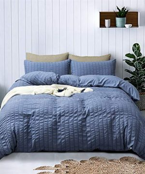 Zeimon Duvet Cover Set TwinSeersucker Textured 100 Washed Microfiber 1 Duvet Cover With Zipper And 2 Pillowcases Ultra SoftSimple Style Farmhouse Duvet CoverBlueTwin 0 300x360